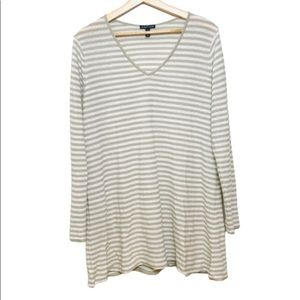 Eileen Fisher | 100% Organic Tan Stripe Sweater M
